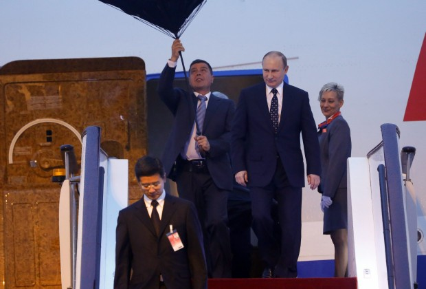 Russian President Vladimir Putin arrives in Shanghai