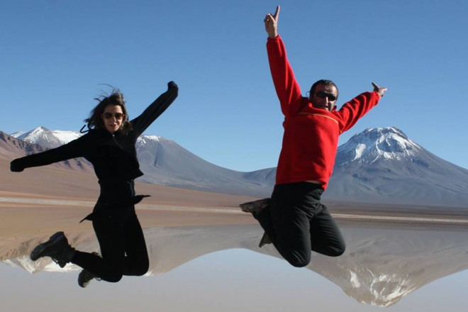 С дъщеря си Кристина в пустинята Атакама, Чили.