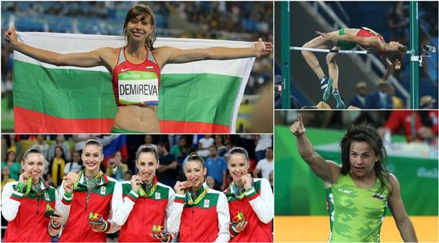 Българските медалисти от Рио (отгоре надолу): Мирела Демирева, ансамбълът по художествена гимнастика и Елица Янкова.