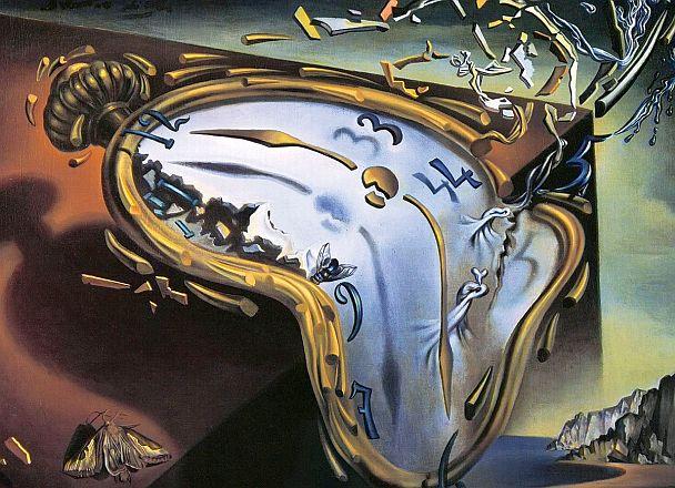 Течен часовник в момента на първата експлозия - Салвадор Дали, 1954.