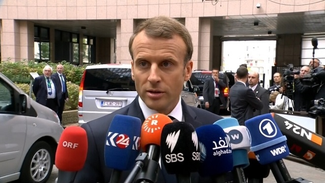 Еманюел Макрон в Брюксел за единството на Испания.