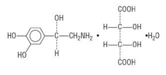 COOH присъства във формулата на инфузионен вазодилататорен разтвор за сърдечно стимулиране (норепинефрин)